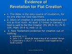 evidence of revelation for fiat creation