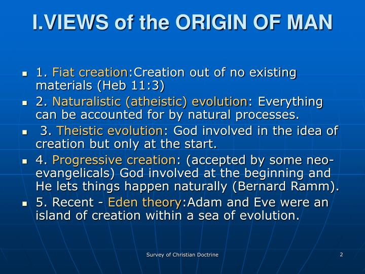 I.VIEWS of the ORIGIN OF MAN