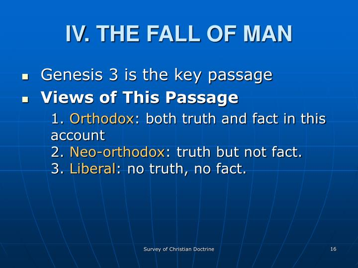IV. THE FALL OF MAN