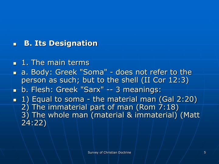 B. Its Designation