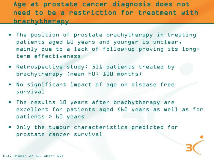 Age at prostate cancer diagnosis does not need to be a restriction for treatment with brachytherapy