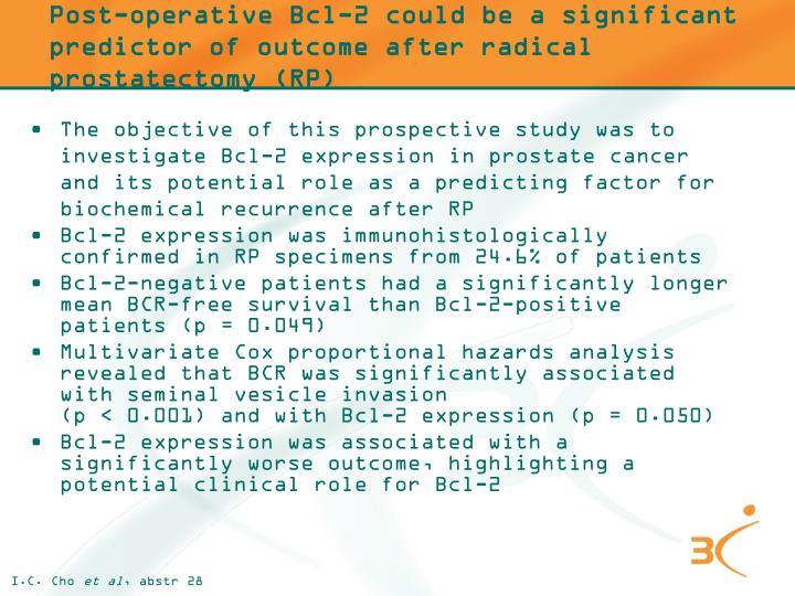 Post-operative Bcl-2 could be a significant predictor of outcome after radical prostatectomy (RP)