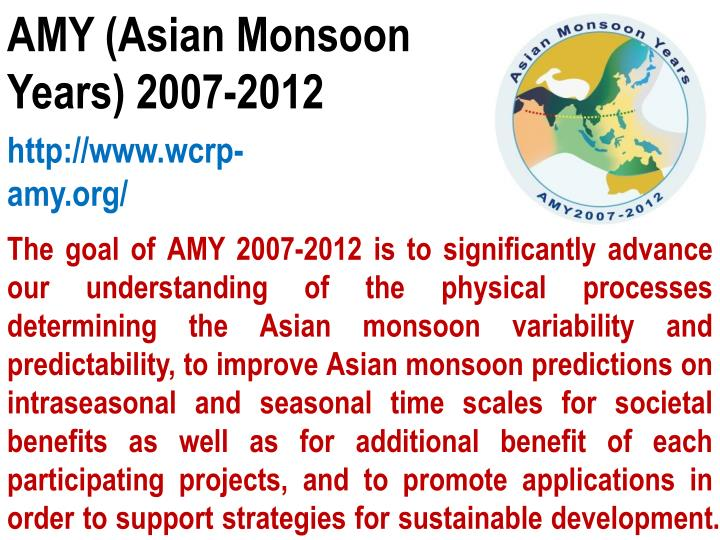 AMY (Asian Monsoon Years) 2007-2012