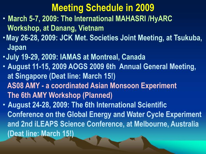 Meeting Schedule in 2009