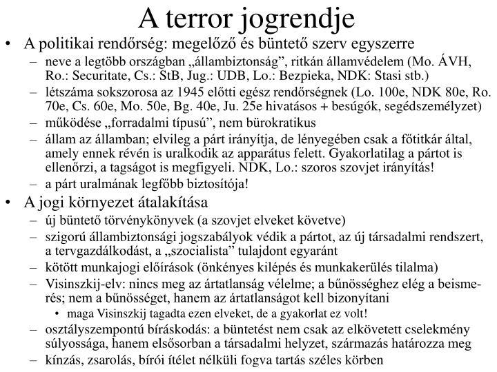 A terror jogrendje