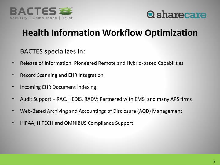 Health Information Workflow Optimization