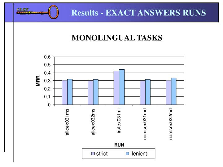Results - EXACT ANSWERS RUNS