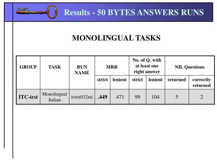 Results - 50 BYTES ANSWERS RUNS