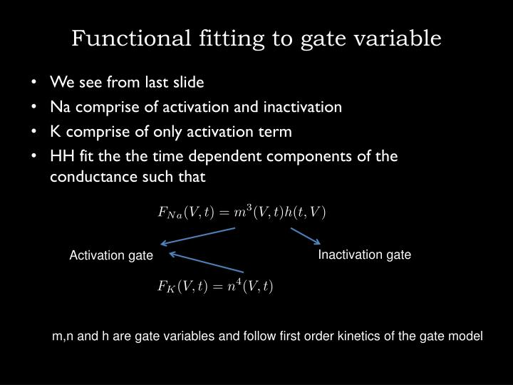Functional fitting to gate variable