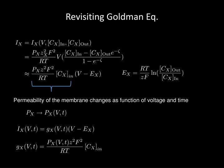 Revisiting Goldman Eq.