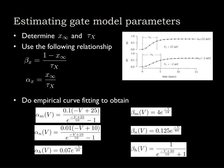 Estimating gate model parameters