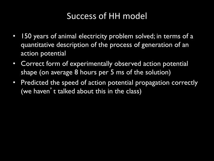 Success of HH model