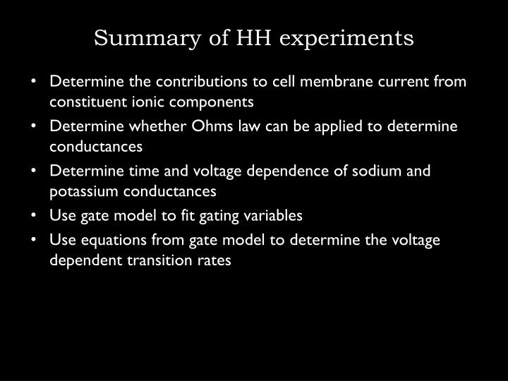 Summary of HH experiments