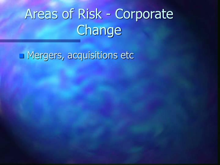 Areas of Risk - Corporate Change