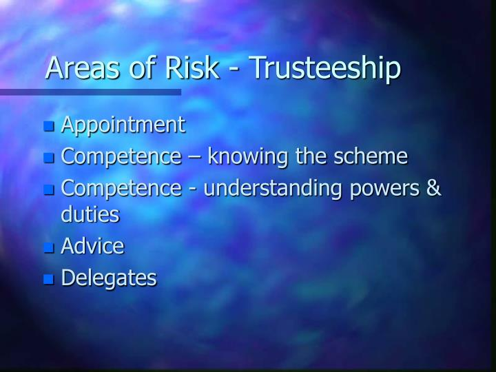 Areas of Risk - Trusteeship