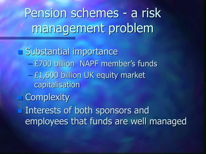 Pension schemes a risk management problem