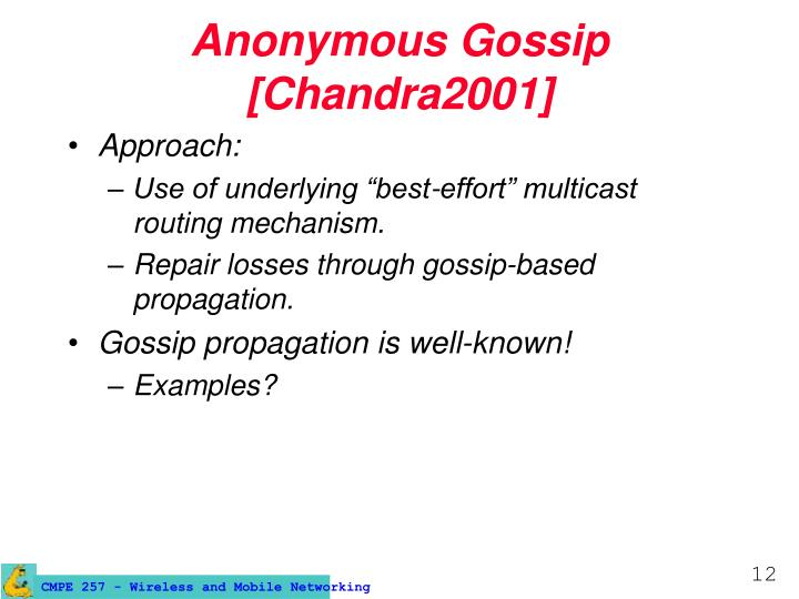 Anonymous Gossip [Chandra2001]