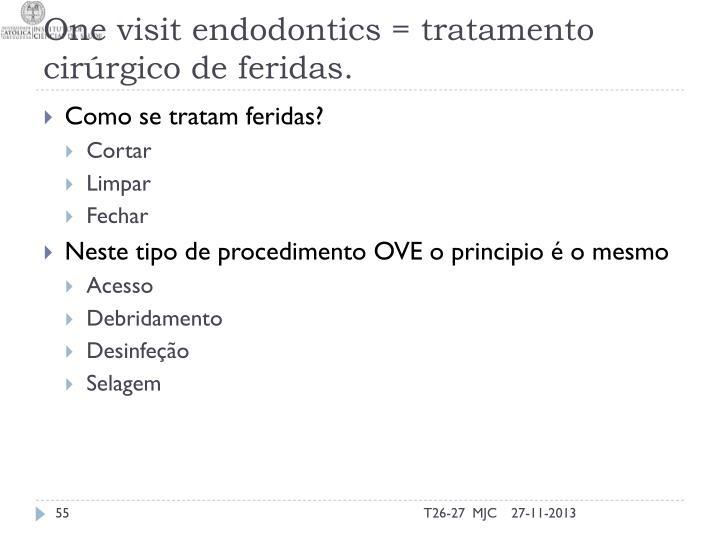 One visit endodontics = tratamento cirúrgico de feridas.