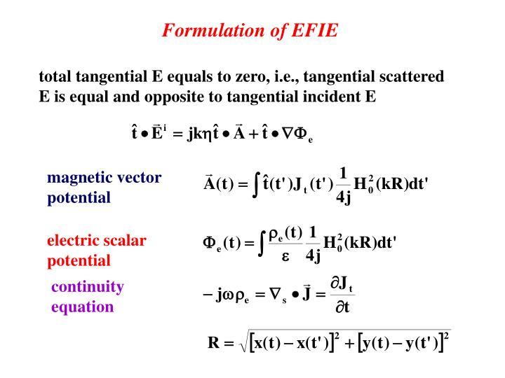 Formulation of EFIE