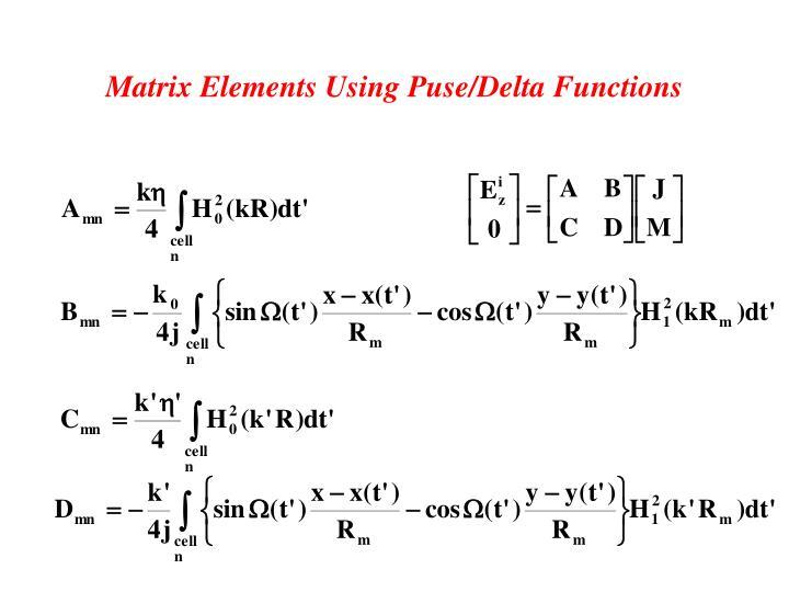 Matrix Elements Using Puse/Delta Functions