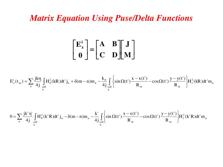 Matrix Equation Using Puse/Delta Functions