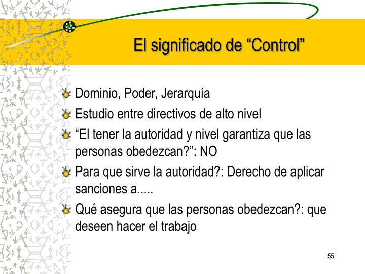 """El significado de """"Control"""""""