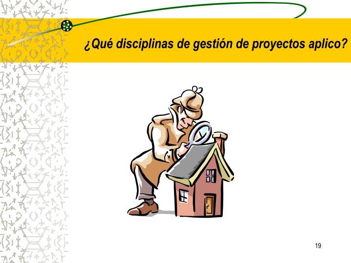 ¿Qué disciplinas de gestión de proyectos aplico?