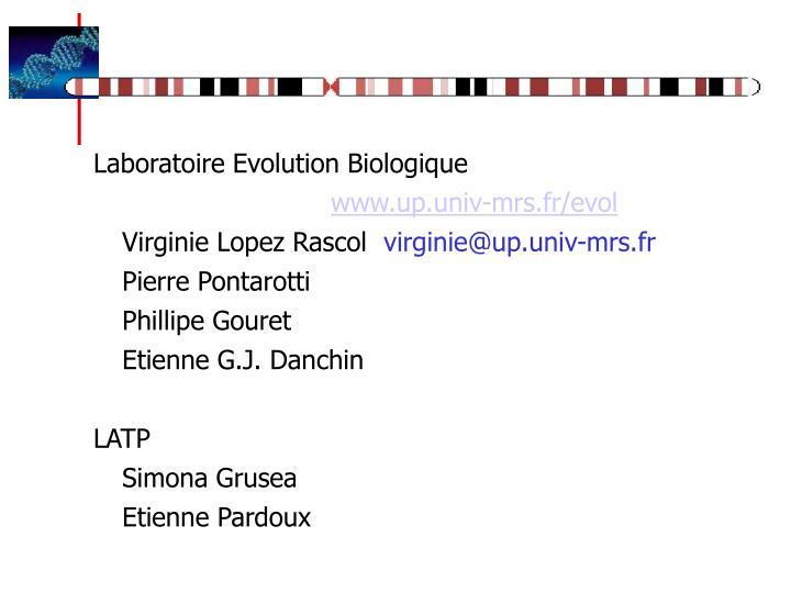 Laboratoire Evolution Biologique