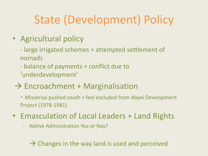 State (Development) Policy