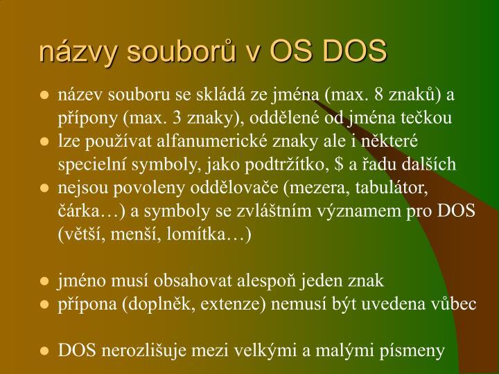 názvy souborů v OS DOS