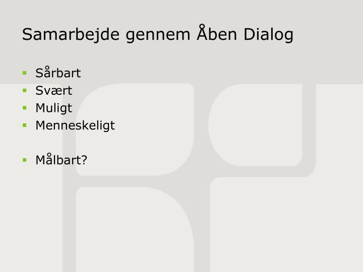 Samarbejde gennem Åben Dialog
