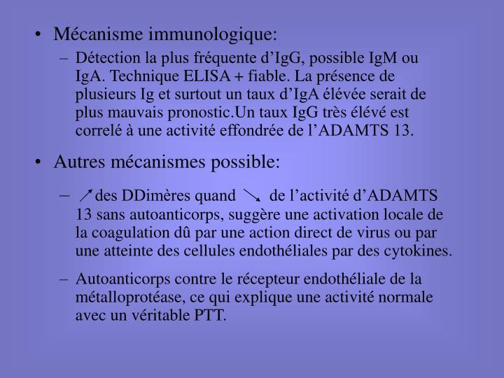 Mécanisme immunologique: