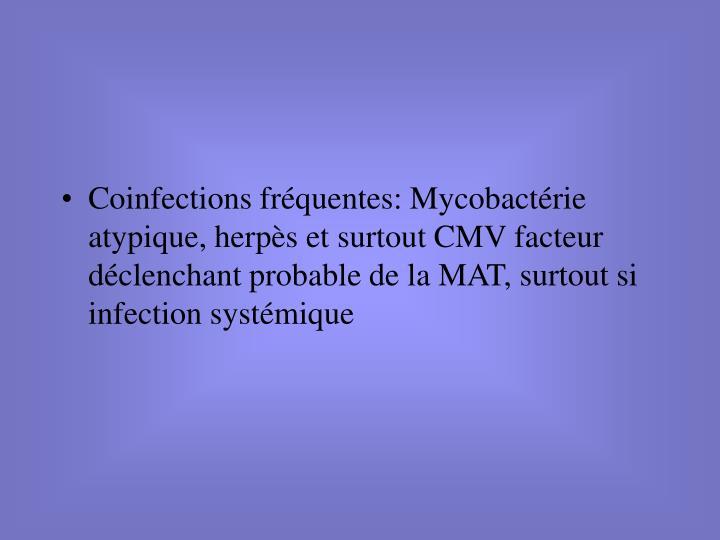 Coinfections fréquentes: Mycobactérie atypique, herpès et surtout CMV facteur déclenchant probable de la MAT, surtout si infection systémique