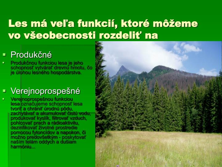 Les má veľa funkcií, ktoré môžeme vo všeobecnostirozdeliť na