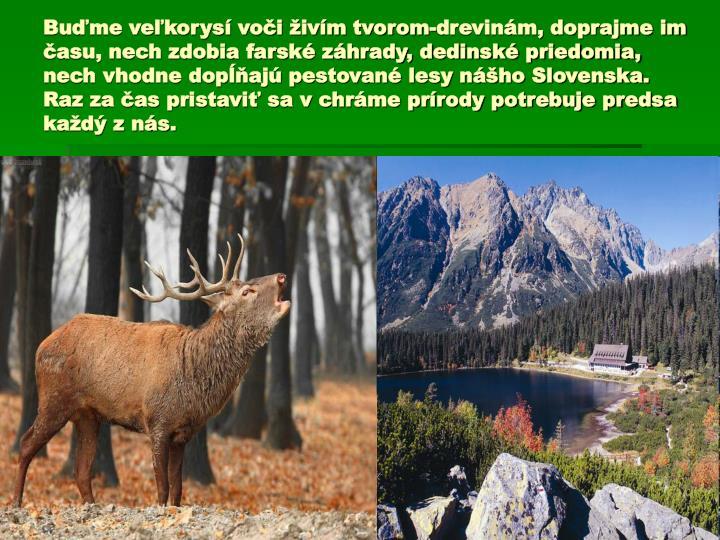 Buďme veľkorysí voči živím tvorom-drevinám, doprajme im času, nech zdobia farské záhrady, dedinské priedomia, nech vhodne dopĺňajú pestované lesy nášho Slovenska. Raz za čas pristaviť sa v chráme prírody potrebuje predsa každý z nás.