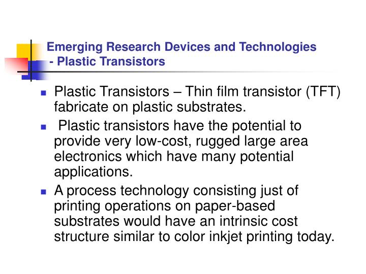 Emerging Research Devices and Technologies
