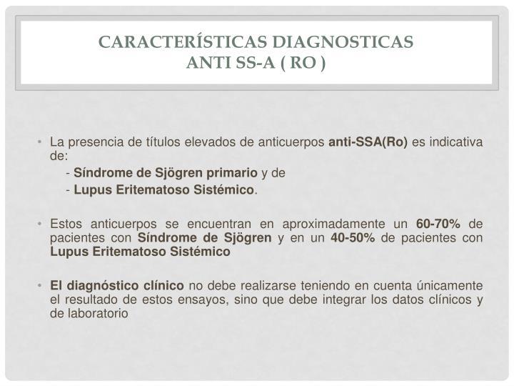 Características diagnosticas