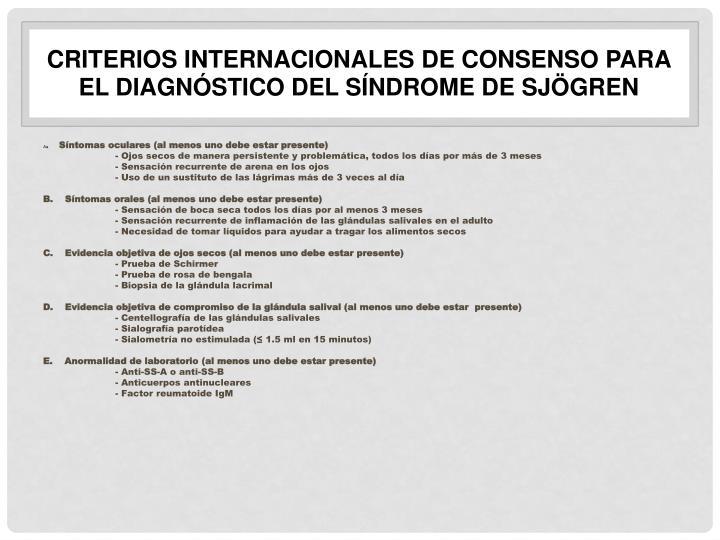 Criterios internacionales de consenso para el diagnóstico del síndrome de