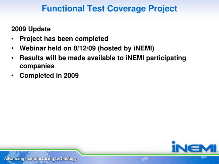 Functional Test Coverage Project