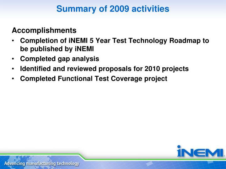 Summary of 2009 activities