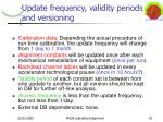 update frequency validity periods and versioning