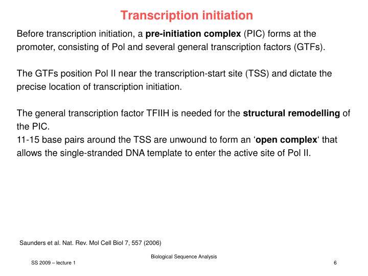 Transcription initiation