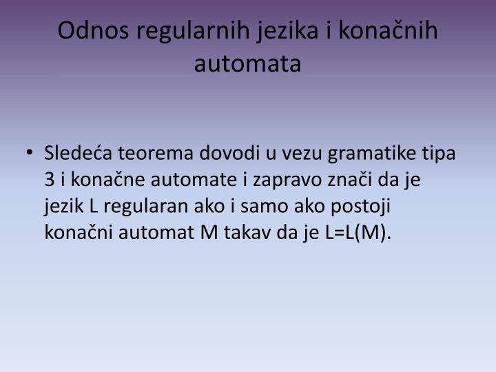 Odnos regularnih jezika i konačnih automata