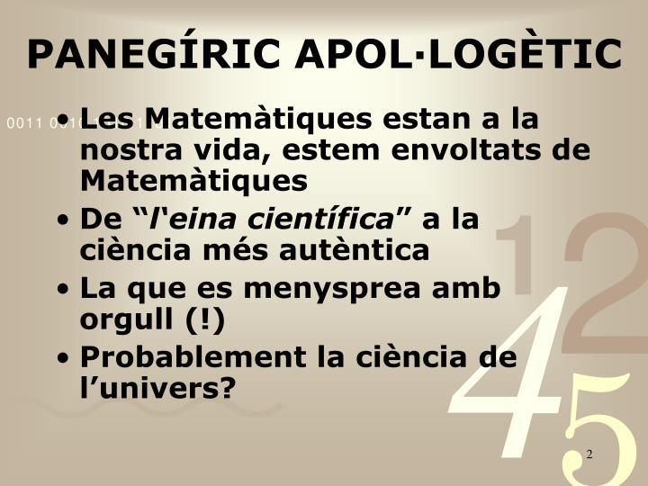 PANEGÍRIC APOL·LOGÈTIC