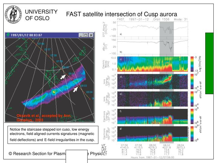 FAST satellite intersection of Cusp aurora