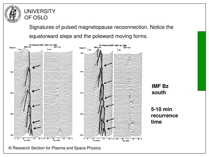 Signatures of pulsed magnetopause recoonnection. Notice the equatorward steps and the poleward moving forms.