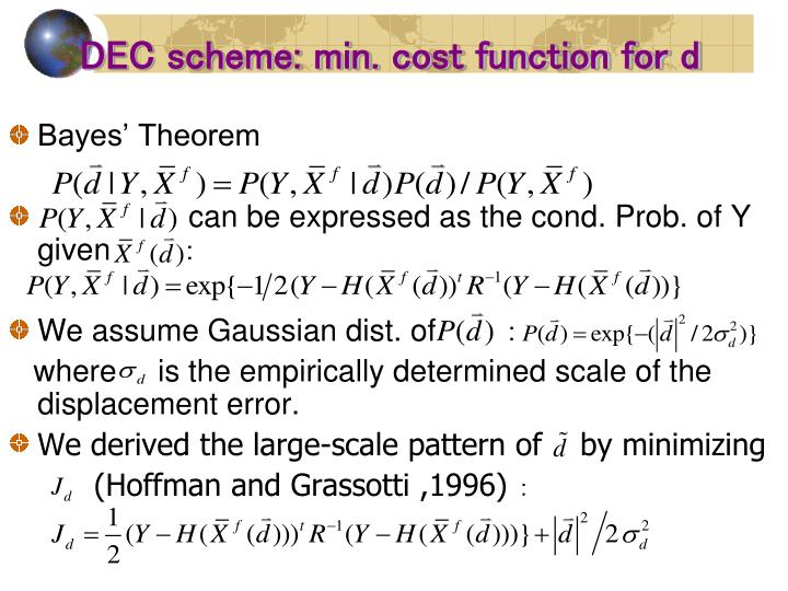 DEC scheme: min. cost function for d
