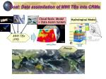 goal data assimilation of mwi tbs into crms