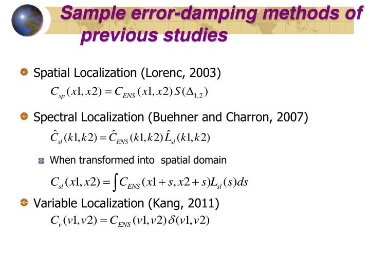 Sample error-damping methods of previous studies