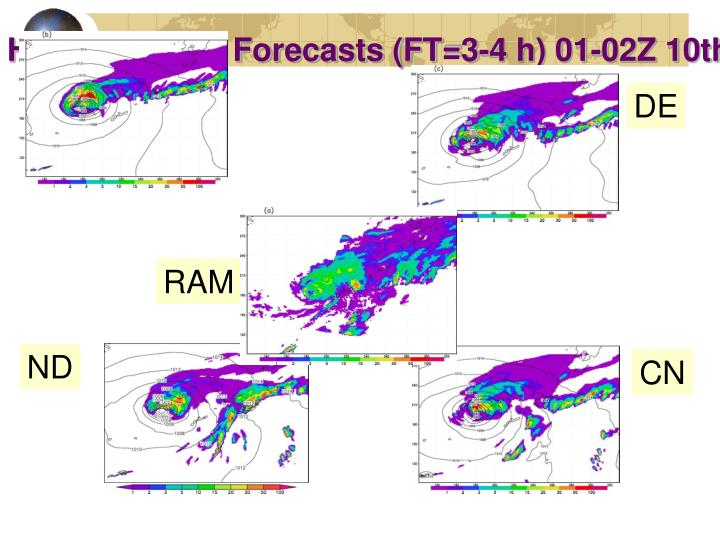 Hourly Precip. Forecasts (FT=3-4 h) 01-02Z 10th
